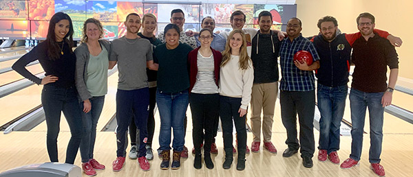 Group photo at a bowling ally