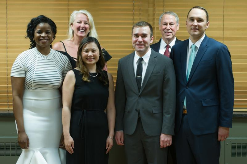 Residency Program Coordinator (Jayne Ward, back row left) & Chair (David Kaufman, back row right) with 2018 Resident Graduates (front row in order starting left: Hollist, O'Young-Olliver, Bracken, Long)
