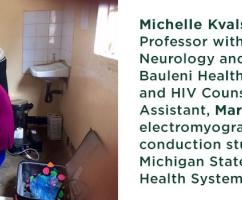 Michelle Kvalsund, D.O. Assistant Professor within MSU's Department of Neurology and Ophthalmology, at Bauleni Health Centre in Lusaka, Zambia and HIV Counselor & Research Assistant, Martin Simunyama, with an electromyography (EMG) and nerve conduction study machine donated by Michigan State University and Sparrow Health Systems